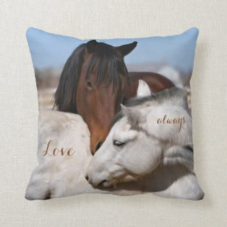 Horse embrace animal lovers pillow