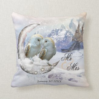 Owls in Winter Wonderland fine art animal lover pillow