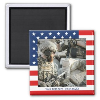 Personalized gift US flag framed photo magnet