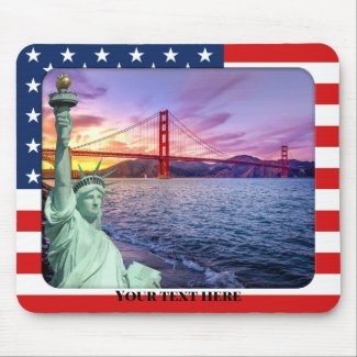 Photo Template USA flag with statue of liberty photo mousepad