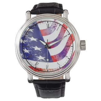 US red white and blue american flag watch