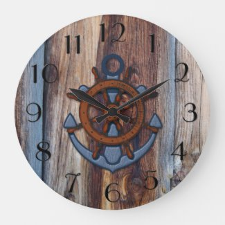 Rustic wood anchor nautical personalized wall clock
