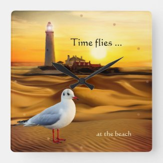 Seagull Lighthouse Beach Sunset Wall Clock
