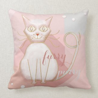Soft Pastel Pink Geometric Cat Art Pillow
