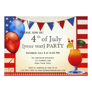 Vintage cocktail 4th of July party invitation