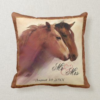 Watercolor Horse Lovers Pillow