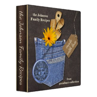 Country jeans scrapbook recipe binder