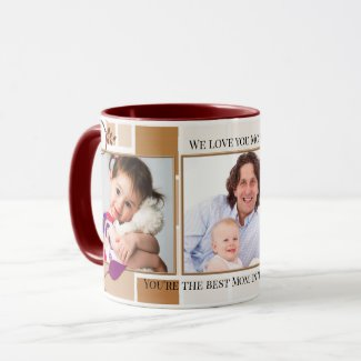 Floral family collage personalized photo mug