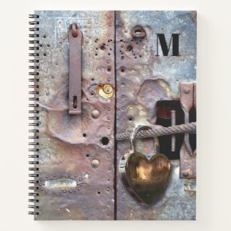 Grunge metallic secret diary notebook