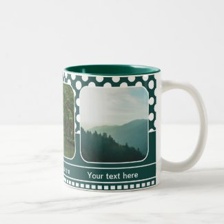 Green polka dots personalized photo mug