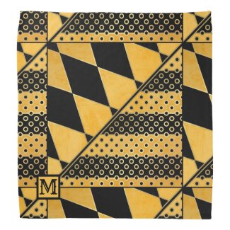 Monogram playful artistic ocher and black design bandana