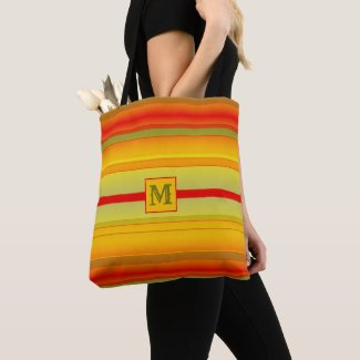 Colorful striped monogram tote bag