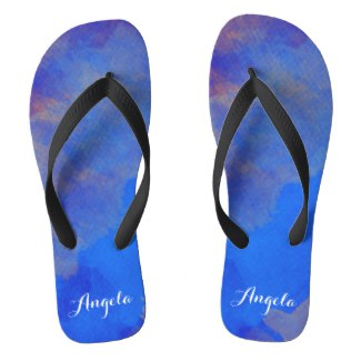 Royal blue purple artistic flip flops