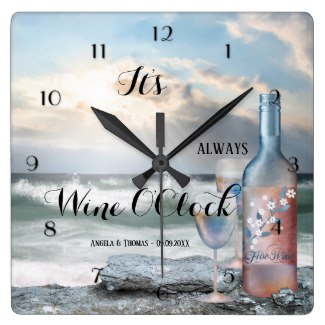 Wine O'Clock romantic beach wall clock