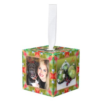 Artistic design green red custom photo cube ornament