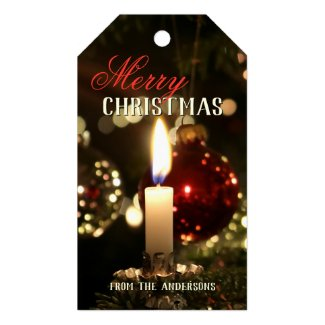 Candle light sparkles Merry Christmas gift tag