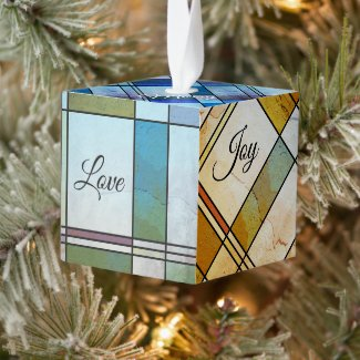 Colorful art deco leaded glass personalized cube ornament