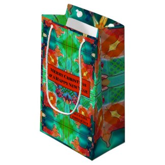Green Watercolor Geometric Pattern Personalized Gift Bag