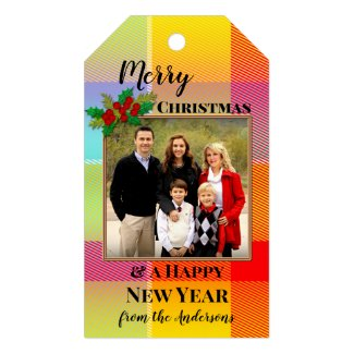 Colorful plaid festive Christmas personalize photo gift tag