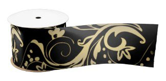 Elegant black gold floral design gift wrapping ribbon