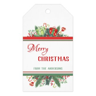 Elegant green red white Christmas gift tag