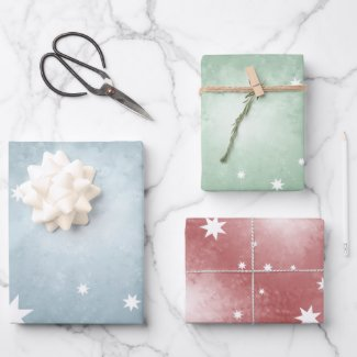 Elegant abstract pastel stars Christmas gift wrapping paper
