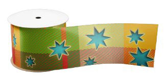 Elegant red green plaid Christmas stars wrapping ribbon