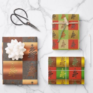 Festive stylized metallic Christmas tree gift wrapping paper