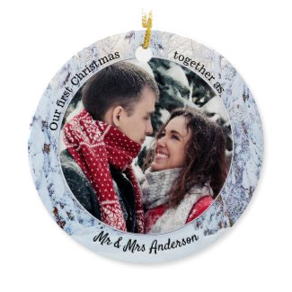 First Christmas as Mr and Mrs photo Holiday Ornament
