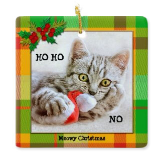 Funny Cat kitten plaid Christmas ornament