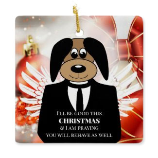 Funny Naughty Dog Christmas Angel Ornament