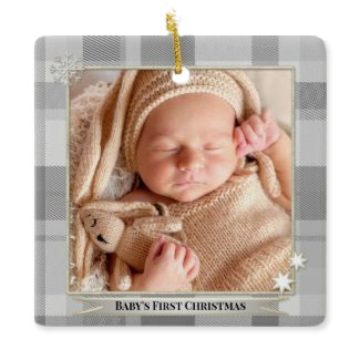 Stylish grey plaid gender neutral baby photo Christmas ornament - personalized Christmas gifts
