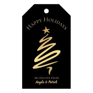Stylish gold on black Christmas tree gift tag