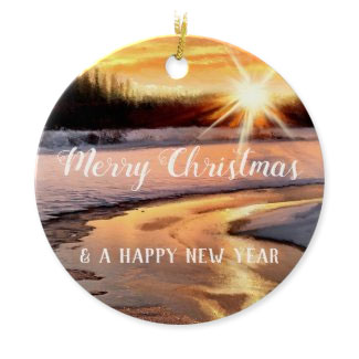 Golden sunny winter landscape personalized Christmas ornament