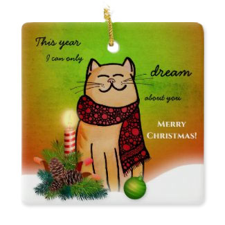 Lonely Christmas without you cartoon cat ornament