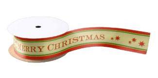 Classic Merry Christmas striped gift wrapping ribbon