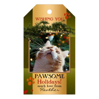 Personalized photo Christmas gift tag for cat lovers