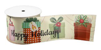 Personalized gift package holidays wrapping ribbon