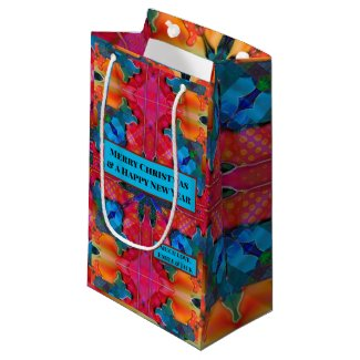 Red blue modern geometric watercolor pattern Christmas gift bag