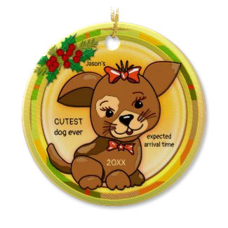 Santa's wish list cutest dog Christmas ornament