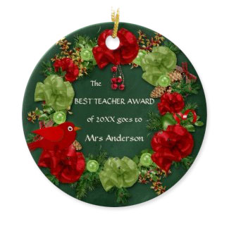 Teacher award wreat green chalkboard Christmas ornament