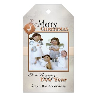 Silver light sparkle custom photo Christmas gift tag