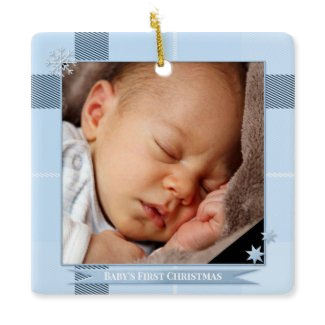 Your baby boy photo first Christmas personalized keepsake ornament