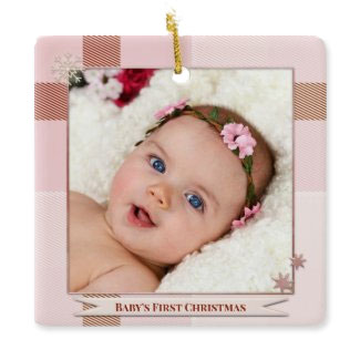 Your photo baby girl plaid Christmas ornament