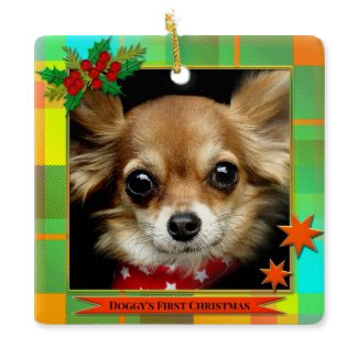 Your photo colorful plaid first Christmas dog ornament