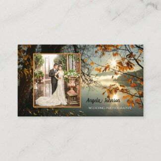 Sunny autumn lake leaves photo business card