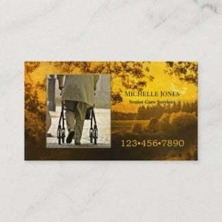 Custom photo senior citizen care giver business card