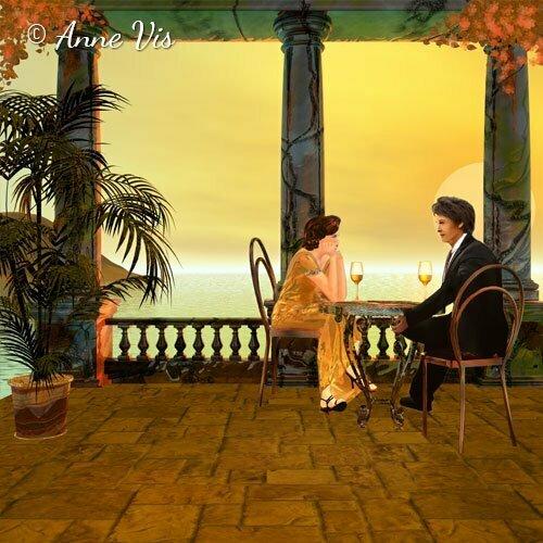 Romance at the Italian coast - fine art