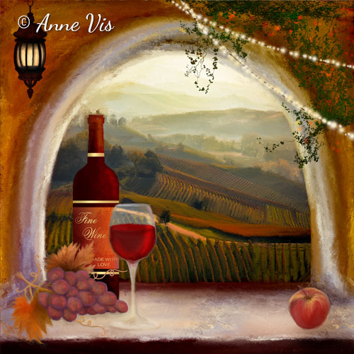 Tuscan wine - fine art painting by Anne Vis