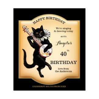 Vintage black cat personalized wine label
